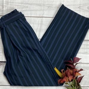 VINCE Dolby Striped Wide-Legged Belted Pants - 8